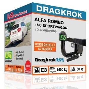 Dragkrok till ALFA ROMEO 156 horiontellt avtagbar dragkrok - dragkrok365.se