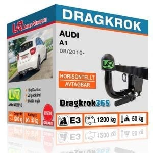 Avtagbar dragkrok till Audi A1 – Horisontellt Avtagbar dragkrok - Dragkrok365.se