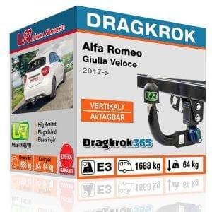 Dragkrok till ALFA ROMEO Giulia Veloce – Vertikalt Avtagbar dragkrok - dragkrok365.se