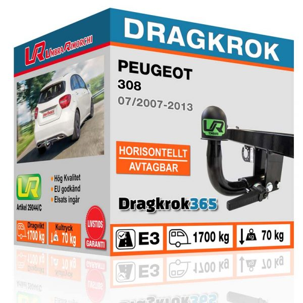 horisontellt avtagbar dragkrok till peugot 308 köp på dragkrok365.se